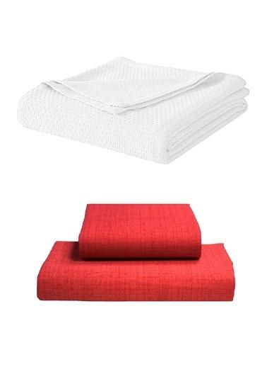 Alla Turca Tek Kişilik Lux Pike Seti-Beyaz/Kırmızı Beyaz